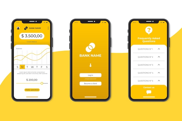 Modèle d'interface d'application bancaire minimaliste