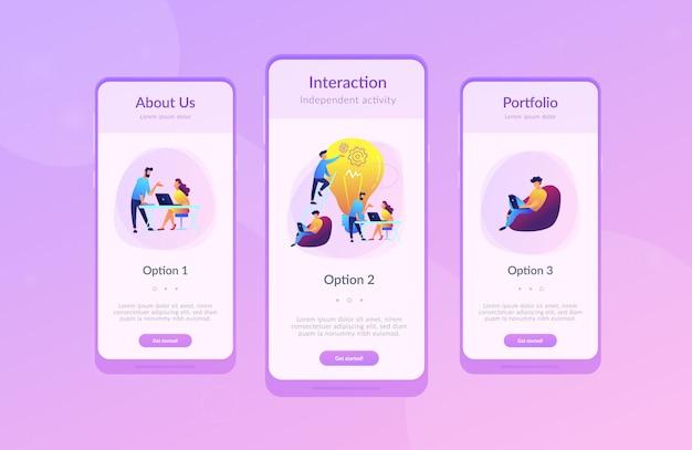 Modèle d'interface de l'application de coworking.
