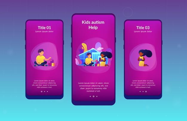 Modèle d'interface d'application du centre de l'autisme.