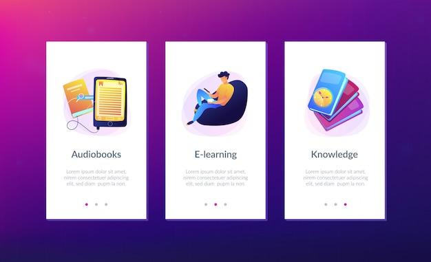 Modèle d'interface d'application ebook.