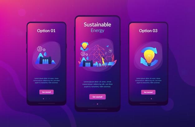 Modèle d'interface d'application d'énergie durable.