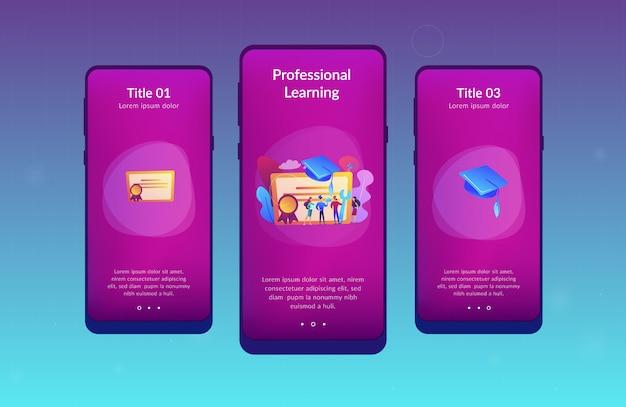 Modèle d'interface d'application de l'enseignement professionnel.
