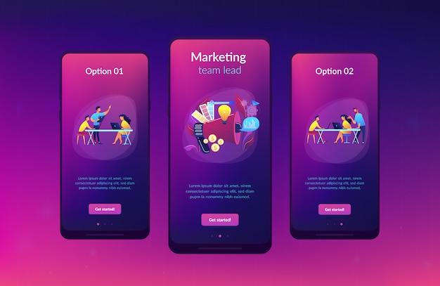 Modèle d'interface d'application de l'équipe de marketing numérique