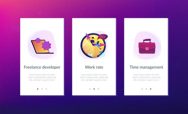 Modèle d'interface d'application de gestion du temps.