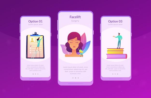 Modèle d'interface d'application de levage de visage.