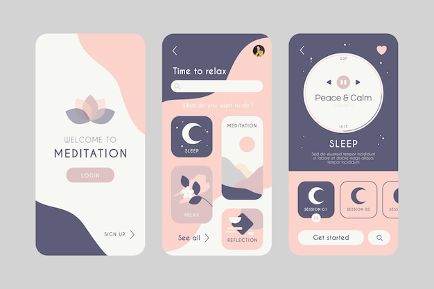 Modèle d'interface d'application de méditation avec illustrations