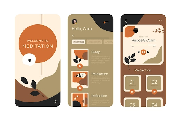 Modèle d'interface d'application de méditation illustrée