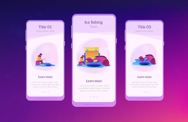 Modèle d'interface d'application de pêche sur glace.
