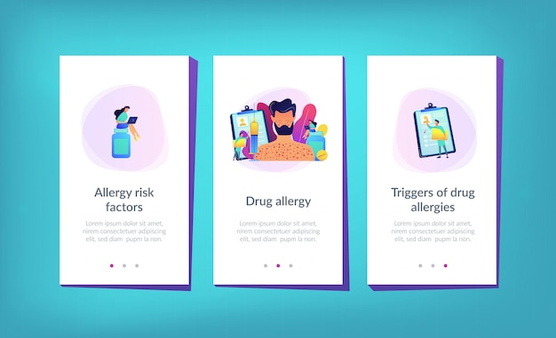 Modèle d'interface d'application pour l'allergie aux médicaments.