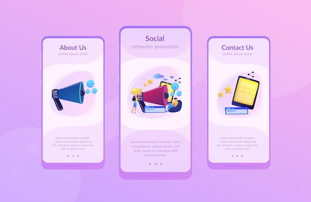 Modèle d'interface d'application de promotion de réseaux sociaux
