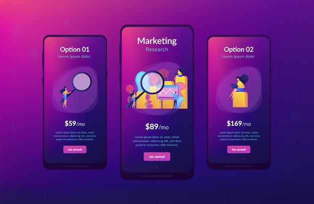 Modèle d'interface d'application de recherche marketing