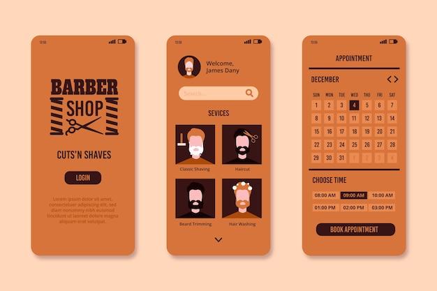 Modèle d'interface de l'application de réservation barber shop