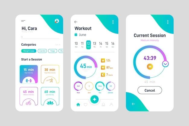 Modèle d'interface d'application de suivi d'entraînement