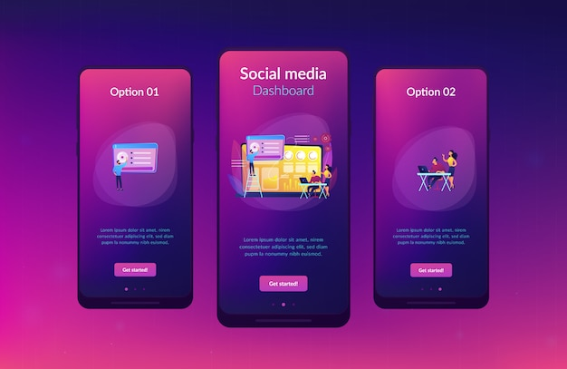 Modèle d'interface d'application de tableau de bord de médias sociaux