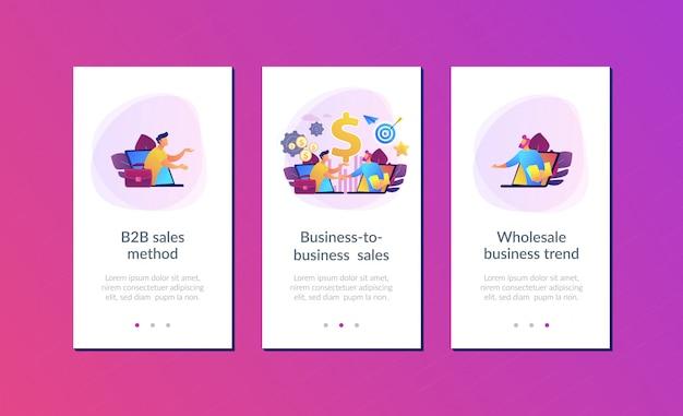 Modèle d'interface d'application de vente entre entreprises