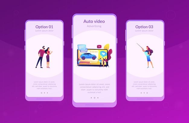 Modèle d'interface d'application vidéo de révision de voiture.