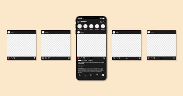 Modèle d'interface de carrousel instagram