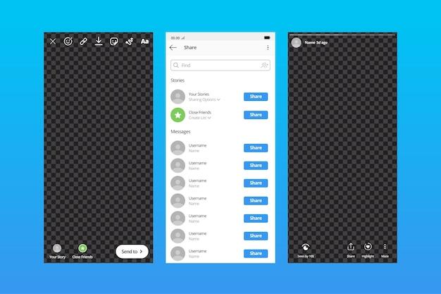 Modèle d'interface de conception pour les histoires instagram