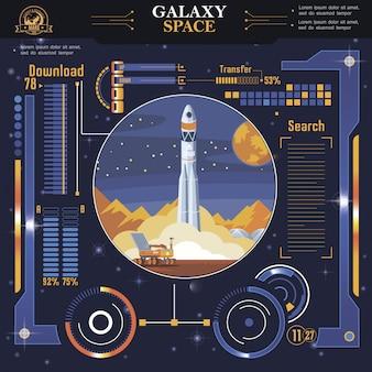 Modèle d'interface d'espace futuriste plat avec indicateurs et options de lancement de fusée