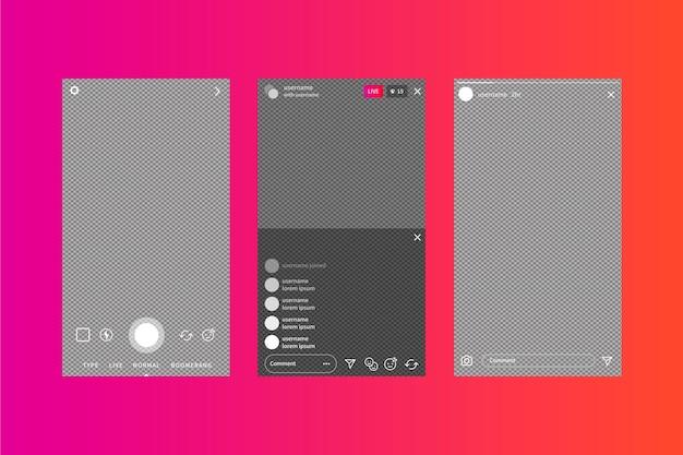 Modèle d'interface d'histoires instagram et fond dégradé