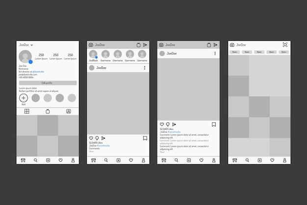 Modèle d'interface d'histoires instagram avec des tons de gris
