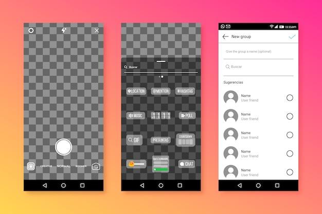 Modèle d'interface d'histoires instagram
