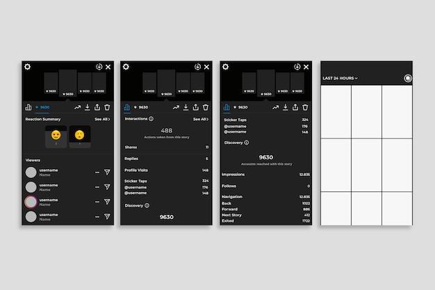 Modèle d'interface pour les histoires instagram