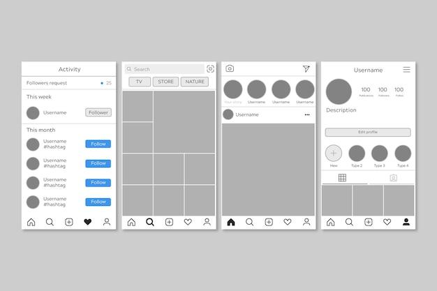Modèle d'interface pour le pack instagram