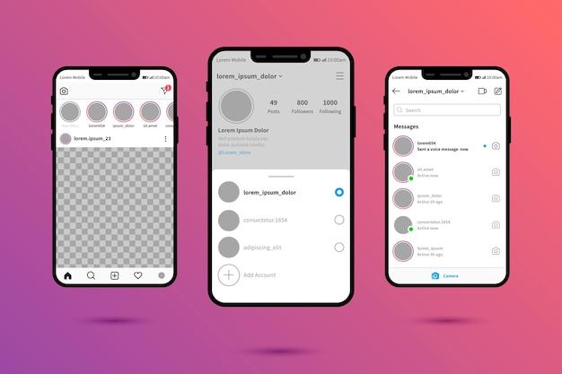 Modèle d'interface pour le profil instagram