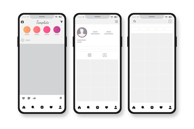 Modèle d'interface de profil instagram avec concept mobile