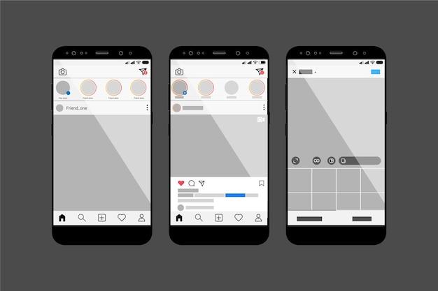 Modèle d'interface de profil instagram avec mobile