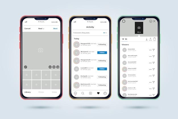 Modèle d'interface de profil instagram avec téléphone portable