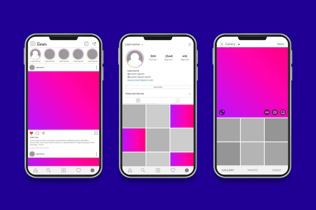 Modèle d'interface de profil instagram avec téléphone