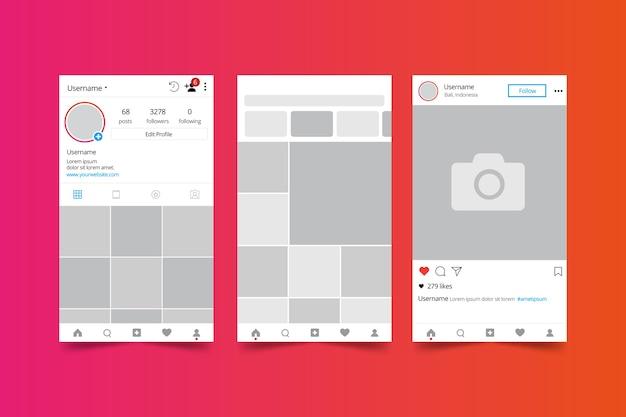 Modèle d'interface de profil instagram