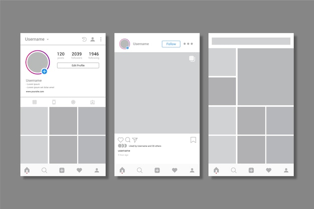 Modèle d'interface de profil instagram