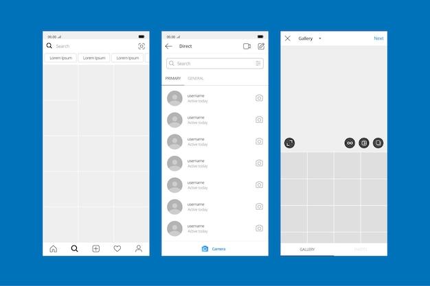 Modèle d'interface de profil pour instagram
