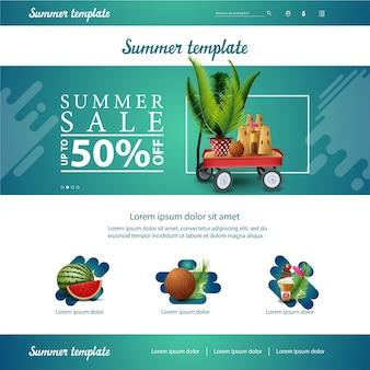 Modèle d'interface de site web vert pour les remises estivales et les ventes avec chariot de jardin avec sable, château de sable et palmier en pot