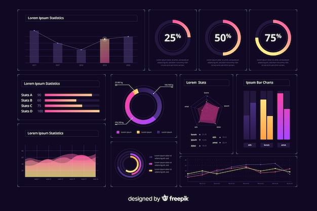 Modèle d'interface de tableau de bord d'infographie dégradé