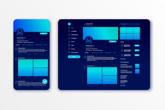 Modèle d'interface twitter
