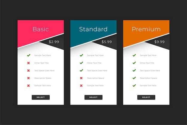 Modèle d'interface web pour les plans et les prix