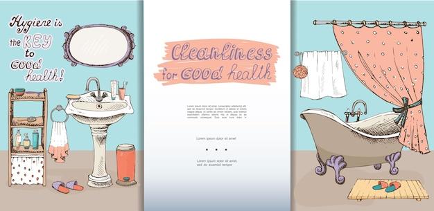 Modèle d'intérieur de salle de bain dessiné à la main