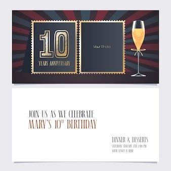 Modèle d'invitation d'anniversaire de 10 ans avec collage de photo vide pour l'invitation à la fête du 10e anniversaire