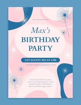 Modèle d'invitation d'anniversaire abstrait dessiné à la main