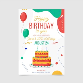 Modèle d'invitation d'anniversaire abstrait avec différentes formes