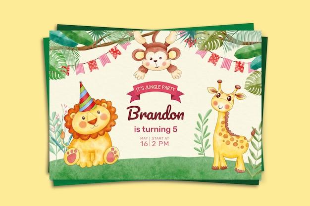 Modèle d'invitation d'anniversaire animaux aquarelle peinte à la main