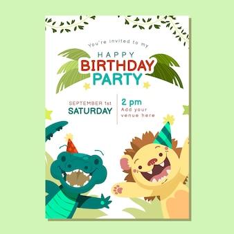 Modèle d'invitation d'anniversaire d'animaux de dessin animé