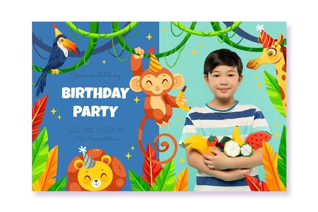 Modèle d'invitation d'anniversaire d'animaux plats avec photo