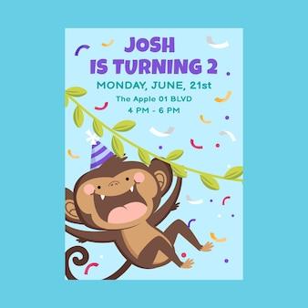 Modèle d'invitation d'anniversaire d'animaux plats