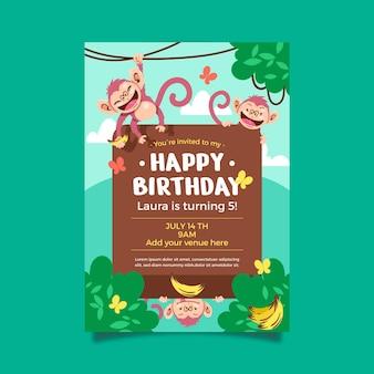 Modèle d'invitation d'anniversaire d'animaux