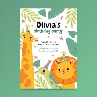 Modèle d'invitation anniversaire animaux